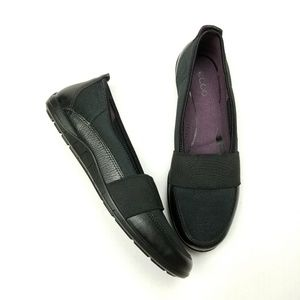 Ecco Loafers Fabric Upper Soft Leather Trim sz 39